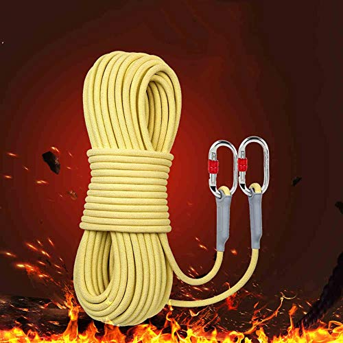 WYX Rock Climbing Rope15 Meter, Outdoor Fire Escape Rescue Parachute Static Indoor Rope, Heavy Duty Rope, Safety Durable, 10.5mm,15M