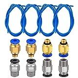 TUZUK Tubo de teflón de 4 piezas Tubo azul de PTFE (1.5 m) con 4 piezas de ajuste rápido PC4-M6 y...