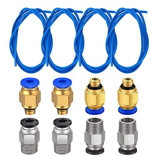 TUZUK 4 pezzi di tubo in teflon PTFE blu (1,5 m) con 4 pezzi PC4-M6 Raccordo rapido e 4 pezzi Raccordo pneumatico diritto Spingere per PC4-M10 da collegare per stampante 3D Filamento da 1,75 mm