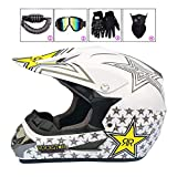 LEENY Cascos de Motocross Adulto Cascos de Cross Moto Set con Gafas/Guantes/Máscara/Candado de Bicicleta, Cascos de Motos Scooter ATV MTB BMX Off-Road Enduro Downhill Racing Casco,I,XL(58cm~59cm)