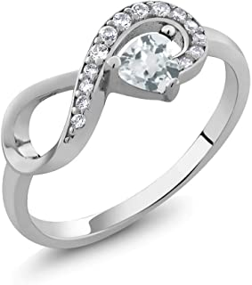 Sterling Silver Heart Shape Sky Blue Aquamarine Women's Infinity Ring (0.39 Cttw, Available 5,6,7,8,9)