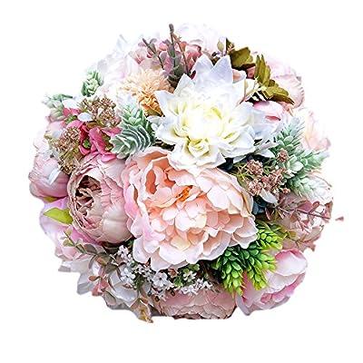 MOJUN Peony Artificial Flower Wedding Bridal Bouquet Wedding Bride Bouquet Wedding Bridesmaid Holding Bouquet
