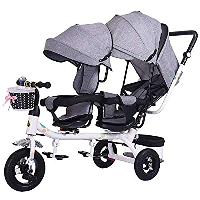 JDK Sillas de Paseo Sillas de Paseo Gemelos Triciclos Niños Dobles Bicicletas Gemelos Trolley Baby 1-7 años Coche de bebé