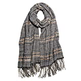 SOJOS Tartan Plaid Houndstooth Checked Soft Scarf For Women, Winter Warm Classic Cashmere Feel Long Scarf, Shawls Wraps SC337 with Black