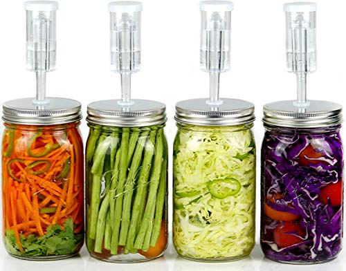Fermentation Kit for Wide Mouth Jars - 4 Airlocks, 4 Silicone Grommets, 4 Stainless Steel Wide mouth Mason Jar Fermenting Lids with Silicone Rings (4 Set, Jars Not Included)