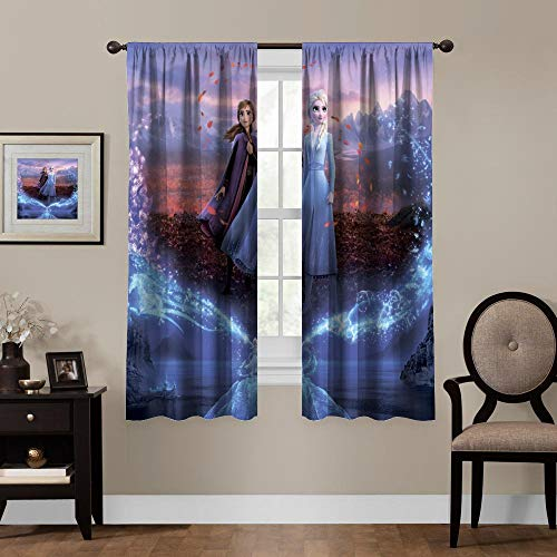 Blackout Curtains,Frozen 2 Anna Elsa Ice and Snow Princess, Rod Pocket Thermal Insulated Darkening Window Drapes Bed valances for Bedroom, Cute Animal Cartoon Boys Girls Room Décor