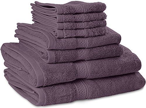 Premium 8 Piece Towel Set (Plum); 2 Bath Towels, 2 Hand Towels and 4 Washcloths - Cotton - Machine Washable, Hotel Quality, Super Soft and Highly Absorbent...