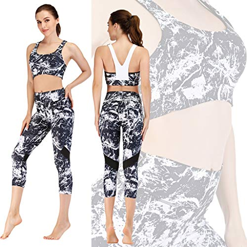 AFROTYE Women's Workout Sets 2 Piece Outfits High Waisted Yoga Leggings and Sports Seamless Padded Bra Gym Clothes