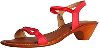 Generic Women's Partywear Leather Thong Sandal with Red Belt Brown Color (8)