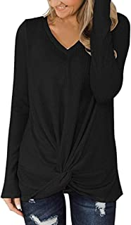 PEIZH Womens Knotted Knit Pullover Casual V Neck Long Sleeve Shirts Solid Color Tops Waffle Tunic Blouse Cute