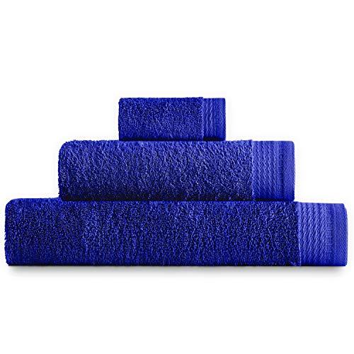 Eiffel Textile Juego de Toallas Calidad Rizo 600 gr, Algodón Egipcio 100%, Azulina, 1x Baño 1x Lavabo 1x Tocador, 3 Unidades