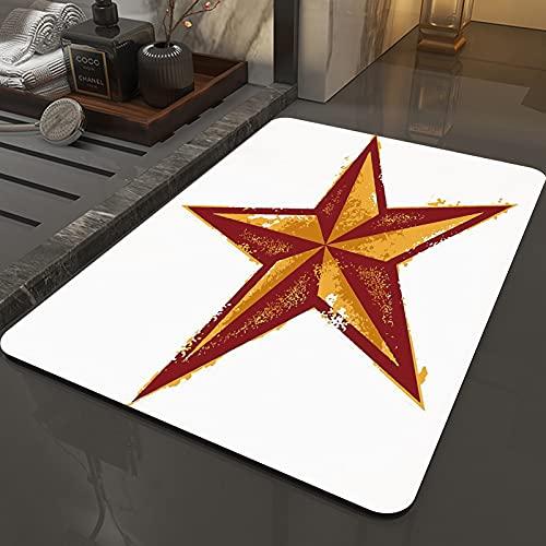 Tapis de Bain Antidérapant en Microfibre 50 x 80 cm,Décor primitif, grunge Western Star Sty,Tapis de Sol Lavable en Machine avec Douces Absorbant l'eau pour la Baignoire, la Douche et la Salle de Bain