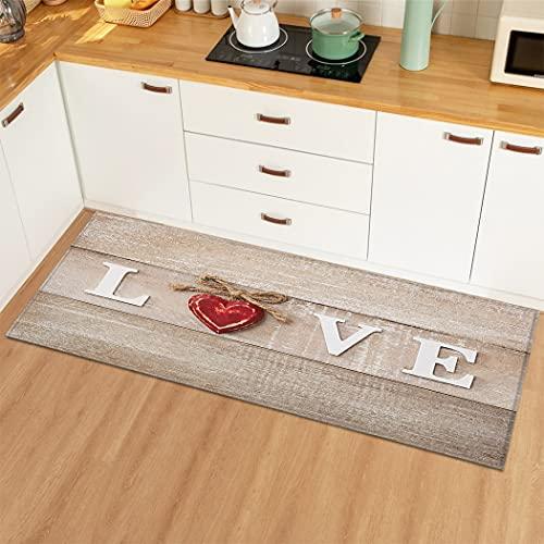 OPLJ Wood Grain Mat Carpet Entrance Door Mat Floor Mat Rugs Anti-slip Bath Mat Carpet for Living Room Bath Room A3 40x120cm