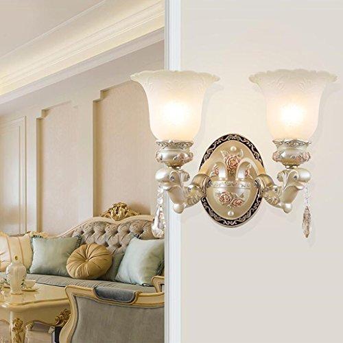 Lámpara de pared de estilo europeo Sala de estar Ambiente Dormitorio Lámpara de noche Jane Lámpara de pared de emergencia europea Escaleras retras Iluminación de pasillo Cabeza simple y doble Opcional