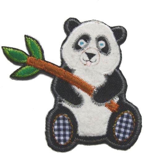 TrickyBoo 2 opstrijkbare panda 9 x 9 cm vlinder 10 x 7 cm set patch applicaties voor het repareren van kinderkleding met design Zürich Zwitserland voor Duitsland en Oostenrijk