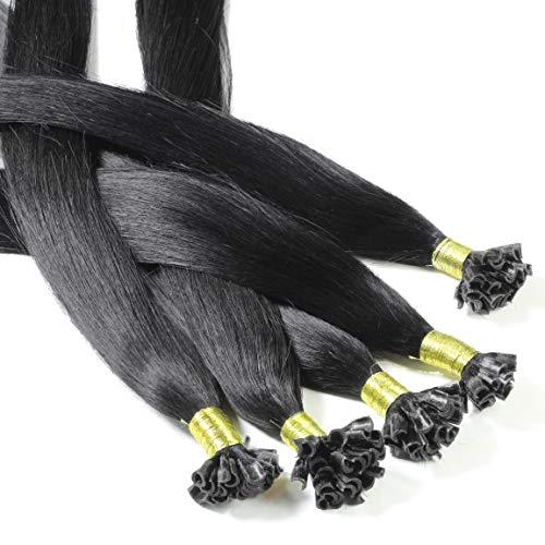 hair2heart 50 x 0.5g Echthaar Bonding Extensions, glatt - 60cm - #1 schwarz