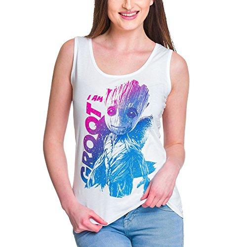Guardianes de la Galaxia camiseta de tirantes de chica Groot de Elbenwald algodón blanco - S