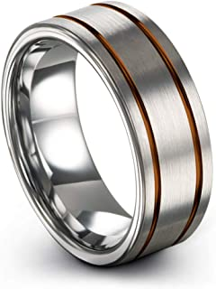 PDAYWID 5mm Silver Rose Gold Brushed Tungsten Ring Women Wedding Bands