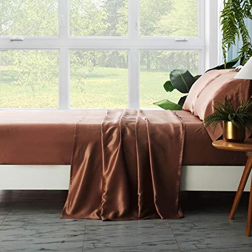 ZIMASILK 4-teiliges Bettwäsche-Set aus 100 % Maulbeerseide, alle Seiten, 19 Momme Seide (Queen Light Brown)