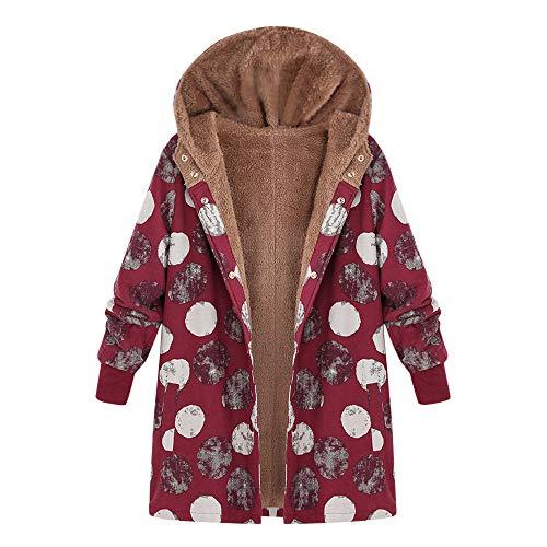 Damen Winter Mantel Winterparka Karmaa MYMYG genehmigen Klassisch Büro Anzüge Mantel Warme Mäntel Jacke Parka Winterjacke(C1-Rot,EU:42/CN-2XL)