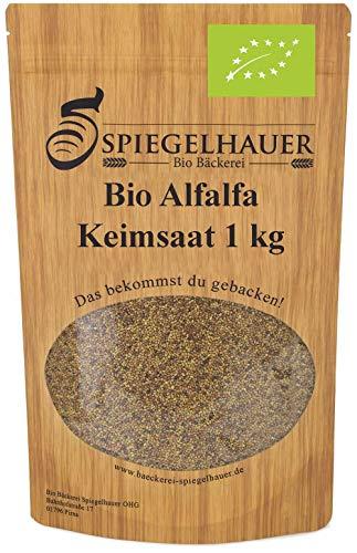 Semillas orgánicas para germinados de alfalfa - Semillas para germinar brotes de alfalfa - fuente de energía saludable - nutritivas y sabrosas para ensaladas - Contenido: 1 kg semillas de alfalfa