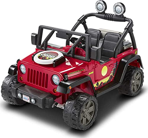 Power Wheels BBQ Fun Jeep Wrangler, 12V battery-powered ride-on vehicle with pretend grill and food for preschool kids ages 3 to 7 years