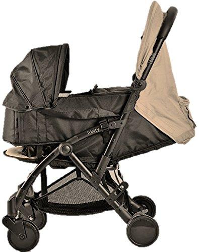 Pack Duo Babybadje Trinity 2 kinderwagen 0/3 jaar, ultralicht, 5,5 kg, ultracompact, formaat bagage cabine vliegtuig + babyschaal ultralicht 2 kg opvouwbaar 0/9 kg (Dark Beige Taupe)