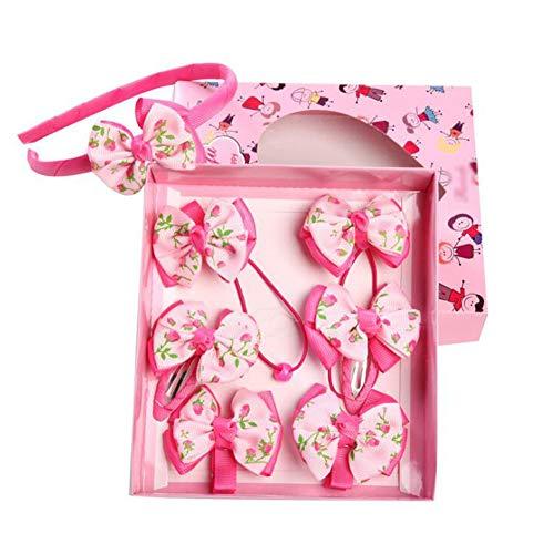 7-teiliges Haargummis mit Haarschleifen, Haarklammern, Gummiband, elastisch, für Mädchen, Haargummis, Krawatten für Mädchen, elastisch D