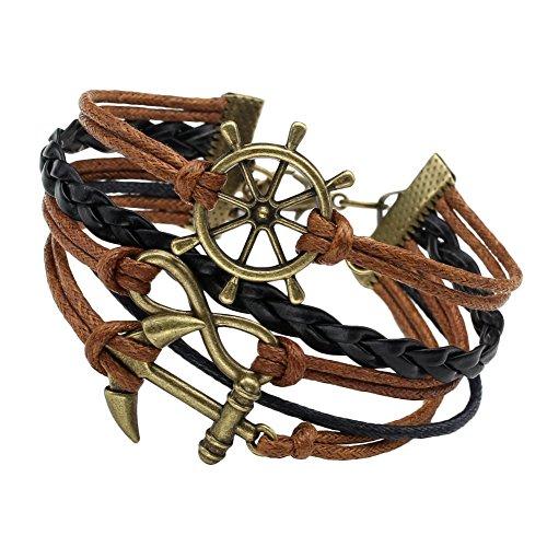 MBOX Vintage Bronze Infinite Bracelet Nautical Rudder Anchor Coffee Leather Rope Bangle (001 Coffee Black Rudder Anchor)