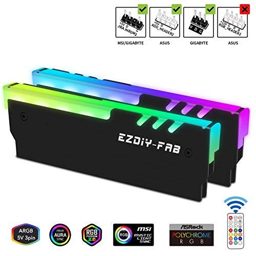 EZDIY-FAB ARGB RAM Kühler mit Controller RGB DDR Kühlkörper-(mit 5V 3-Pin Motherboard ASUS Aura Sync,GIGABYTE RGB Fusion und MSI Mystic Light Sync,Falls zutreffend) Schwarz-2 Pack