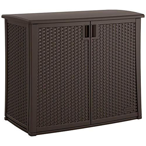 Suncast Elements Outdoor Wide Cabinet - 40' Wide Resin Constructed Patio Furniture Ideal for Decks and Balconies - Contemporary Wicker Design for Outdoor Storage with 97 Gallon Capacity - Brown