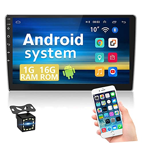 Android Car Stereo Double Din 10.1 Inch Touch Screen Car GPS Navigation Stereo Bluetooth Car Stereo WiFi FM Radio Receiver Support Mirror Link for Android/iOS, 2 USB/SWC