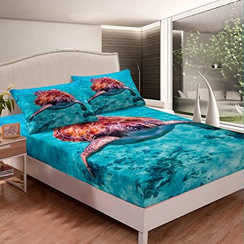 Juego de sábanas de playa con estampado de reptiles 3D para niños, niños, niñas, microfibra, para cama de animales subacuáticos, color azul