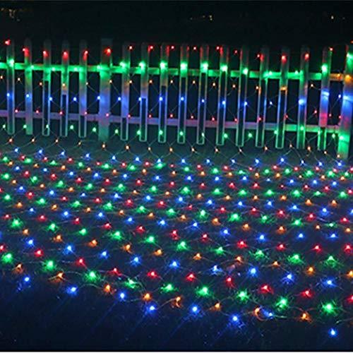 ZHJIUXING CC Luces de Red de Navidad LED Luz de Hadas Luz de Cortina de luz LED Luz de Red, Fiesta de Bodas Decoración del jardín en casa 1.5 * 1.5m Luces de Ventana de Navidad, Multicolor/120leds