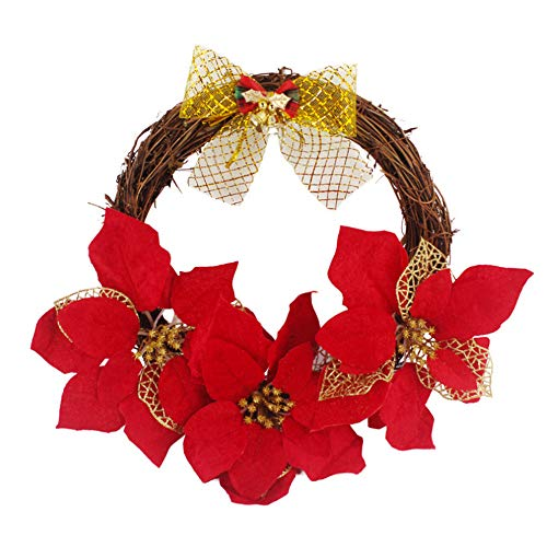 New Shuangklei 2019 Christmas Wreath Simulation Bow Decorative Wreath 30Cm Wreath Christmas Decorati...