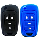 Ezzy Auto Black and Blue 4 Buttons Key Covers for Flip Folding Key Case Cover Silicone cover for 2010 2011 2012 2013 2014 Camaro