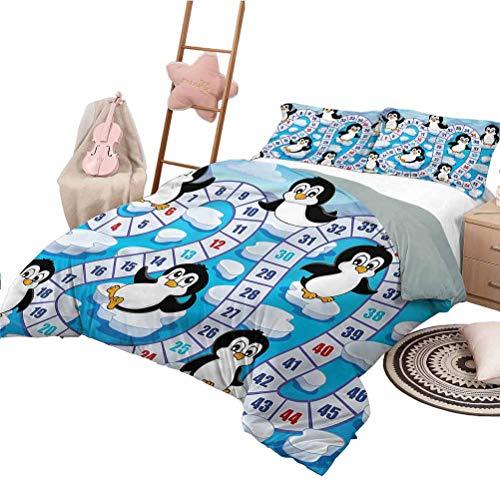 Nomorer Quilt Bettwäsche Set Queen Size Brettspiel Extra Soft & Fade Resistant Cute Penguins Antarctica