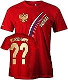 Wenn Sie die Variante mit Wunsch gewählt haben, können sie ihre Wunschnummer und Namen im Laufe der Bestellung eingeben. Ansonsten wird ihre Bestellung mit der Nummer 12 und dem Namen Russia versendet. Russia T-Shirt für die Fußball WM & EM oder als ...