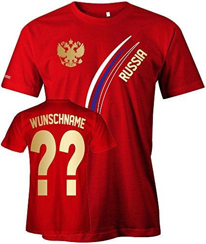 Jayess Russia Fan T-Shirt 103 - Wunsch - Personalisierbar mit Wunschname und Wunschnummer - Herren Rot Gr. M