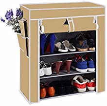 Biaba Collection shoe Rack Four Layer in Beige (Store more then 12 pairs of shoes, Strong structure with Extra virgin plastic connectors)
