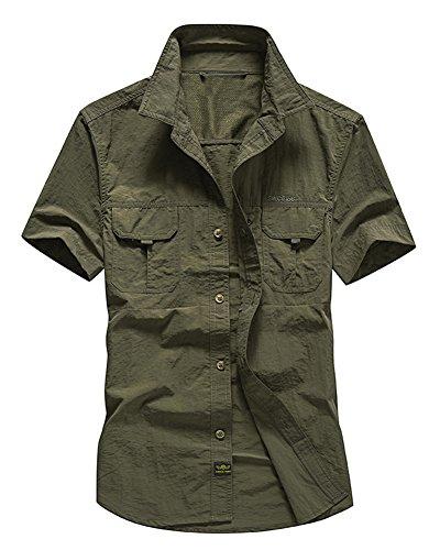 Militar Camisas para Hombre Secado Rápido Verano Outdoor Manga Corta Camiseta Suelto Tamaño Grande