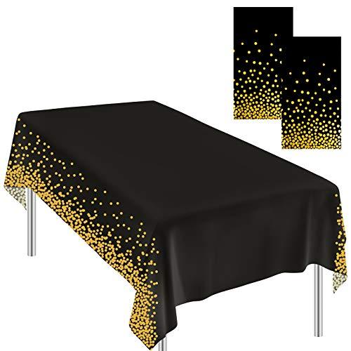 Ruisita 2 Stück Tischdecken Schwarz Gold Punkt Tischdecken Dot Konfetti Tischdecken Party Tischdecken für Picknick Hochzeit Geburtstag Party