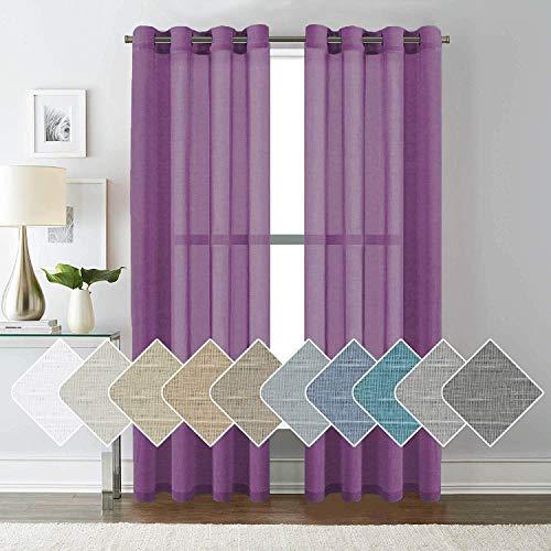 ForenTex Cortinas Confección 145x260cm Visillos para Ventanas/Puertas de Salón/Habitación/Dormitorio/Terraza, Polyester, Morado M-0575, 145x260 cm