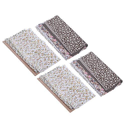 Omabeta Tela de Acolchado de Costura de algodón Floral pequeña Tela Estampada Ropa Telas de Costura Accesorios de artesanía DIY café 25x25cm
