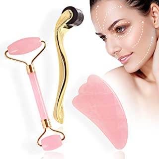 Jade Face Roller,Gua Sha Massager and Microneedle Derma Roller Facial Tool Set Natural Rose Quartz for Anti Aging Eye Puffiness Wrinkles and Firming Face Eyes Neck Body Treatment Skin Care Tool Kit