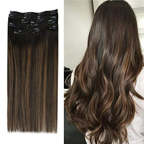 YoungSee Doppelt Tressen Extensions Echthaar Clip Ombre Remy Dunkelstes Braun mit Mittelbraun - Voller Kopf Clip in Echthaar Extensions, Balayage Clip in Hair Extensions 7 Stuck 120g 50cm