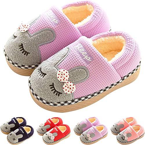 SITAILE Jungen Mädchen Winter Pantoffeln Slippers Schuhe mit Plüsch gefüttert Wärme Weiche rutschfeste Hausschuhe Für Kinder Baby , 02 Lila , 24/25 EU (Herstellergröße 18/19)