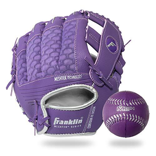 Franklin Sports Teeball Glove and Ball Set - Meshtek Teeball Glove and Foam Baseball - Purple/Silver - 9.5' Right Hand Throw