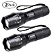 LED Tactical Flashlight, Binwo Super Bright 2000 Lumen XML T6 LED Flashlights Portable Outdoor Water Resistant Torch Light Zoomable Flashlight with 5 Light Modes, 2 Pack (Renewed)
