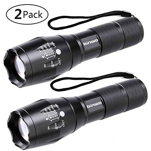 LED Taschenlampe, Binwo Tragbarer Zoombar Superhelle 2000 Lumen CREE LED Taschenlampe, 5 Modis Einstellbar, Wasserdicht Taschenlampen für Outdoor Sports (2 Stück), Garantie für 2 Jahre